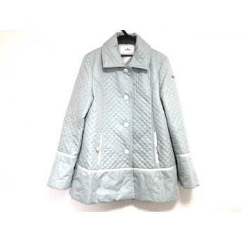 【中古】 クレージュ COURREGES コート サイズ40 M レディース ライトブルー 白 キルティング/春・秋物