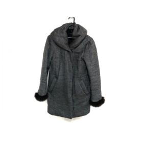 【中古】 カリテ qualite コート サイズ2 M レディース グレー ライトグレー ファー/冬物