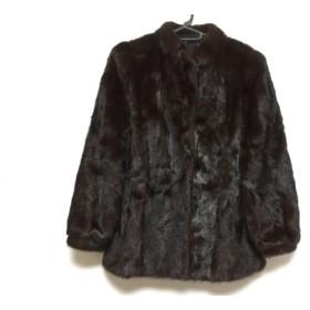 【中古】 サガミンク SAGA MINK コート サイズ15 L レディース ダークブラウン ネーム刺繍/冬物 ミンク