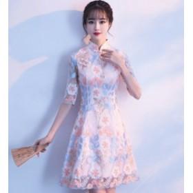 よそ行きワンピース 韓国 ワンピース ドレス レディース チャイナ ドレス チャイナドレス 大きいサイズ チャイナドレス風 チャイナ風ドレ