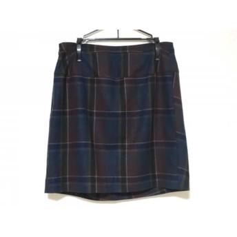 【中古】 マカフィ MACPHEE スカート サイズ38 M レディース ネイビー マルチ チェック柄