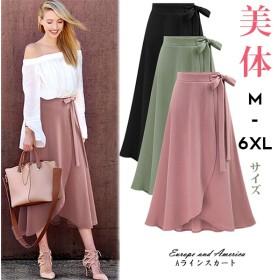 ウエストリボン付き。ラップ風Aラインスカート♪全3色。春はやっぱりトレンチスカート インスタでも話題 トレンチスカート/ 韓国ファッション