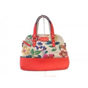 【中古】 ケイトスペード Kate spade ハンドバッグ 美品 PXRU4125 ベージュ オレンジ マルチ 花柄