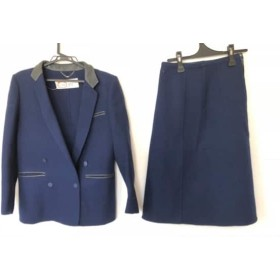 【中古】 ラモーダゴジ La ModaGOJI スカートスーツ レディース ネイビーx黒 肩パット/部分レザー