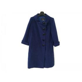 【中古】 ジャスグリッティー JUSGLITTY コート サイズ2 M レディース ブルー 冬物/ダブル