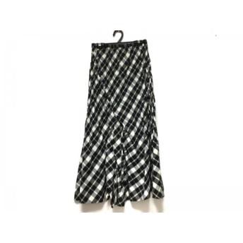 【中古】 ヒロコビス HIROKO BIS スカート サイズ9 M レディース 黒 白 ベージュ チェック柄