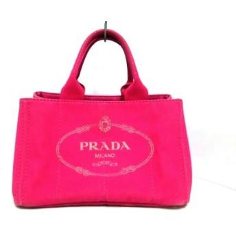 【中古】 プラダ PRADA トートバッグ CANAPA ピンク ベージュ キャンバス