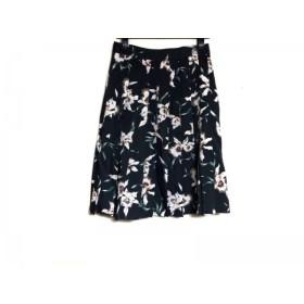 【中古】 ビューティフルピープル スカート サイズ36 S レディース 黒 白 リネン混/花柄/プリーツ