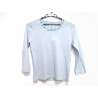 【中古】 ジユウク 長袖セーター サイズ38 M レディース ライトブルー ブルー クリア ビーズ