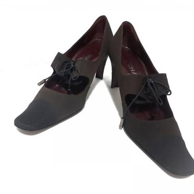822bef05e656 【中古】 シャネル CHANEL パンプス 36 1/2 レディース ブラウン 黒 リボン 化学繊維. トップ ファッション 靴 レディースシューズ