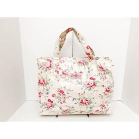 【中古】 キャスキッドソン ハンドバッグ ライトグレー ピンク マルチ 花柄 コーティングキャンバス