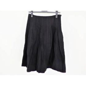 【中古】 ヨークランド YORKLAND スカート サイズ11AR M レディース 黒 刺繍/プリーツ/花柄