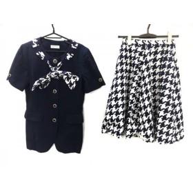 【中古】ユキトリイ YUKITORII スカートスーツ サイズ9 M レディース ネイビーx白