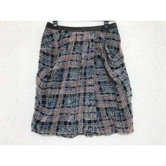 【中古】 ジャスグリッティー JUSGLITTY スカート サイズ2 M レディース ピンク 黒 マルチ チェック柄
