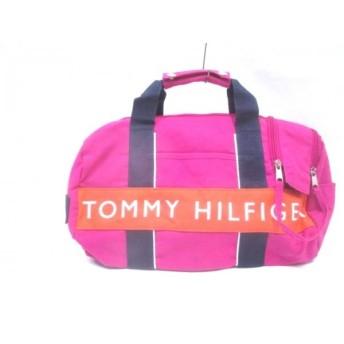 【中古】 トミーヒルフィガー TOMMY HILFIGER ハンドバッグ ピンク マルチ 化学繊維