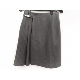 【中古】 ピンキー&ダイアン 巻きスカート サイズL レディース グレー ライトグレー ストライプ