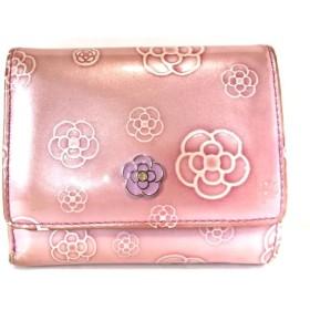 【中古】 クレイサス CLATHAS 3つ折り財布 ピンク アイボリー がま口 エナメル(合皮)
