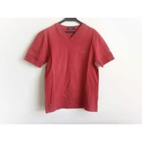 【中古】 バーバリーブラックレーベル 半袖Tシャツ サイズ2 M メンズ 美品 レッド Vネック