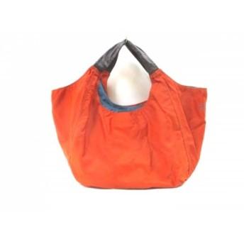 【中古】 カンペール CAMPER トートバッグ 美品 オレンジ ライトブルー ブラウン ナイロン レザー