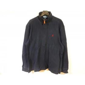 【中古】 ポロラルフローレン 長袖セーター サイズLL メンズ ネイビー ジップアップ/ハイネック