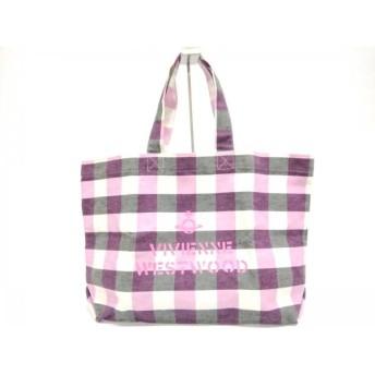 【中古】 ヴィヴィアンウエストウッド トートバッグ 美品 白 ピンク ダークグレー チェック柄