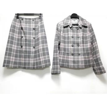 【中古】 クレージュ スカートスーツ サイズ9AR S レディース グレー ピンク 肩パッド/チェック柄