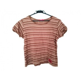 【中古】 ピンクハウス 半袖Tシャツ サイズM レディース ダークブラウン ブラウン ベージュ ボーダー