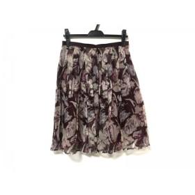 【中古】 ハロッズ HARRODS スカート サイズ3 L レディース 美品 ボルドー アイボリー パープル