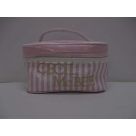 【中古】 セシルマクビー バニティバッグ 美品 ピンク 白 ミニサイズ/ストライプ/ハート 化学繊維