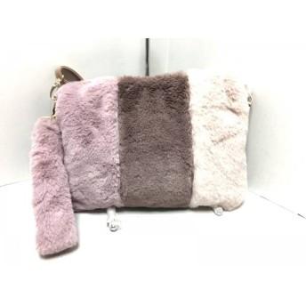 【中古】 セシルマクビー ショルダーバッグ 美品 ピンク ベージュ マルチ フェイクファー 合皮