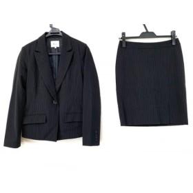 【中古】 アンドバイピンキー&ダイアン & byP & D スカートスーツ サイズ36 S レディース 黒 白 ストライプ