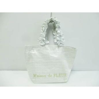 【中古】 メゾンドフルール Maison de FLEUR ハンドバッグ 白 ライトグレー チェック柄/フリル 化学繊維
