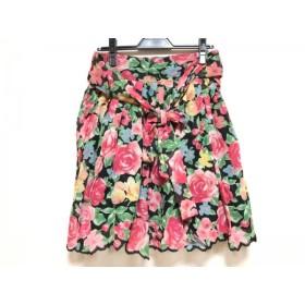 【中古】 ジェーンマープル Jane Marple スカート サイズM レディース 黒 ピンク マルチ 花柄