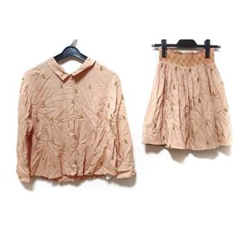 【中古】 リリーブラウン スカートセットアップ サイズF レディース オレンジ マルチ 刺繍/オウム柄