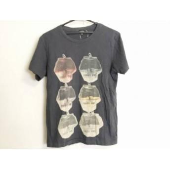 【中古】 ポールスミスジーンズ PaulSmithJEANS 半袖Tシャツ サイズM メンズ 黒 アイボリー マルチ