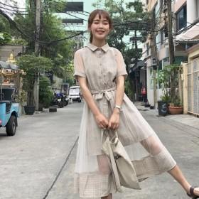 夏 女性服 韓国風 ルース 中長デザイン アンティーク調 メッシュ + フェイク2点セッ