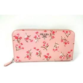 【中古】 プラダ PRADA 長財布 美品 - 1ML506 ピンク 白 花柄 レザー
