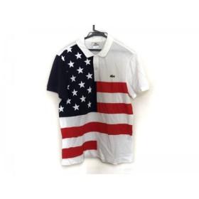【中古】 ラコステ Lacoste 半袖ポロシャツ サイズ4 XL メンズ 白 ダークネイビー レッド 星条旗