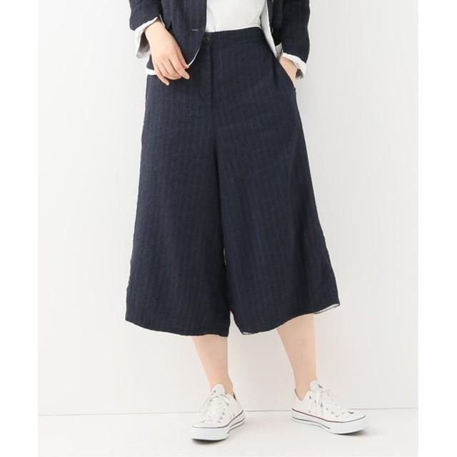 journal standard luxe 【H+HANNOH WESSEL/エイチプラスハノーウェーゼル】 LINEN PINSTRIPE Pants ネイビー M