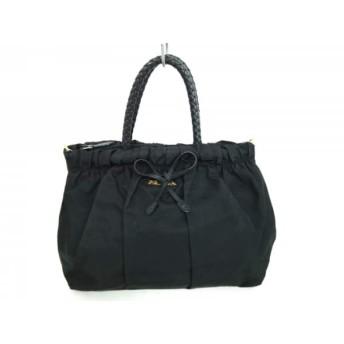 【中古】 プラダ PRADA ハンドバッグ 美品 - 黒 リボン/編み込みハンドル ナイロン レザー