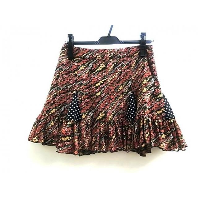 【中古】 ノーブランド ミニスカート サイズ38 M レディース ブラック マルチ