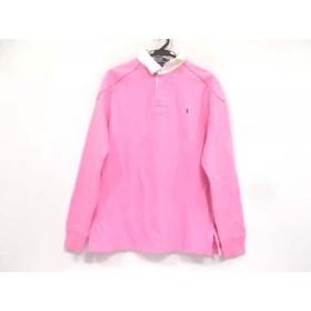 【中古】 ポロラルフローレン POLObyRalphLauren 長袖ポロシャツ サイズL メンズ ピンク 白
