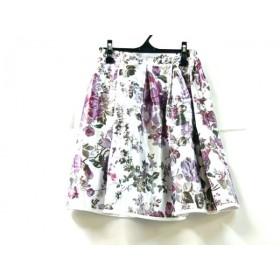 【中古】 ノーブランド スカート サイズL レディース 白 ピンク グリーン