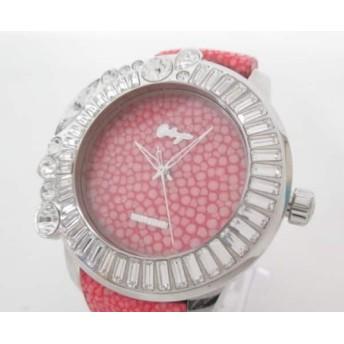 【中古】 ガルティスコピオ Galtiscopio 腕時計 メンズ スワロフスキー/革ベルト ピンク