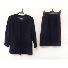 【中古】 ユキコハナイ スカートスーツ サイズ9 M レディース ダークネイビー madame hanai/肩パッド/刺繍