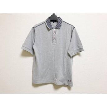 【中古】 パーリーゲイツ 半袖ポロシャツ サイズ1 S メンズ 美品 ライトグレー ネイビー GOLF