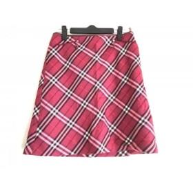 【中古】 バーバリーブルーレーベル スカート サイズ38 M レディース レッド 白 ダークブラウン
