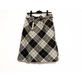 【中古】 ジユウク 巻きスカート サイズ40 M レディース カーキ アイボリー マルチ チェック柄