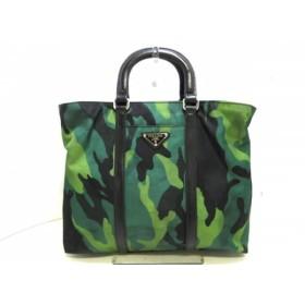 【中古】 プラダ PRADA ハンドバッグ - 黒 グリーン マルチ 迷彩柄 ナイロン レザー