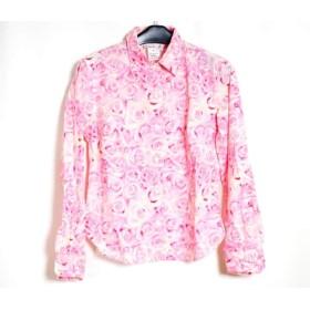 【中古】 アニエスベー agnes b 長袖シャツブラウス サイズ1 S レディース ピンク アイボリー 花柄